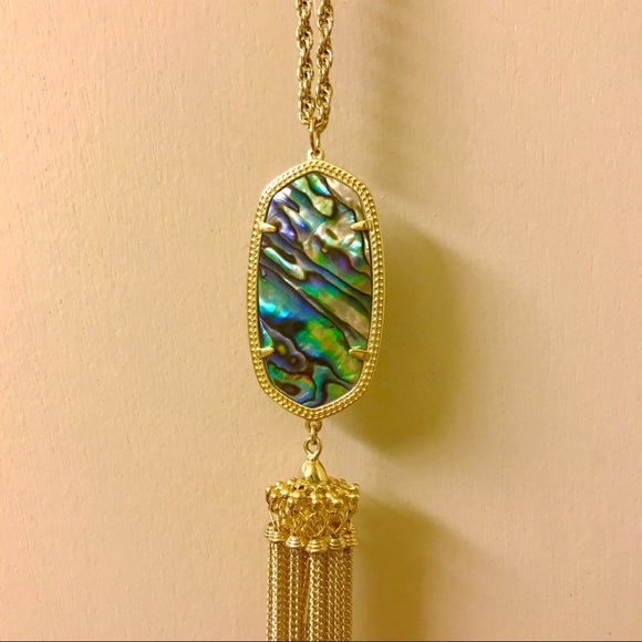 Kendra Scott Jewelry Gold Rayne Abalone Tassel Necklace